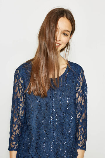 T-shirt stretch in pizzo con paillettes, Blu, hi-res