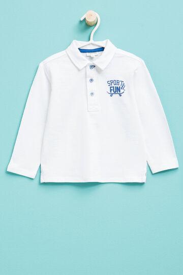 Polo in puro cotone con stampa lettering, Bianco, hi-res