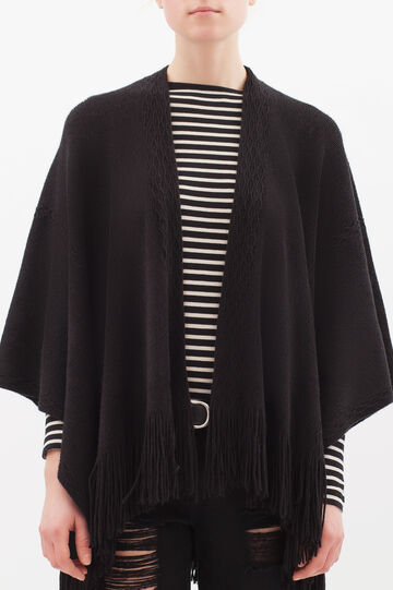 Knitted poncho with fringe, Black, hi-res