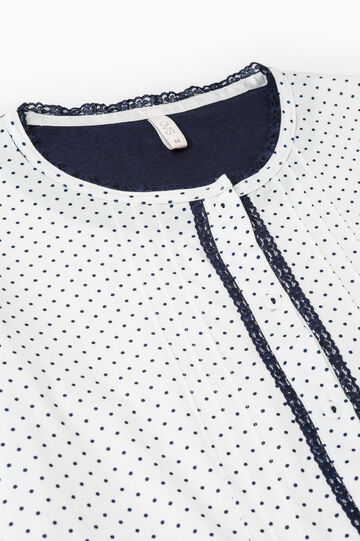 Polka dot pattern pyjamas in 100% cotton, White/Blue, hi-res