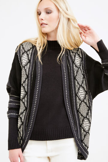 Patterned cardigan with three-quarter sleeves, Black, hi-res