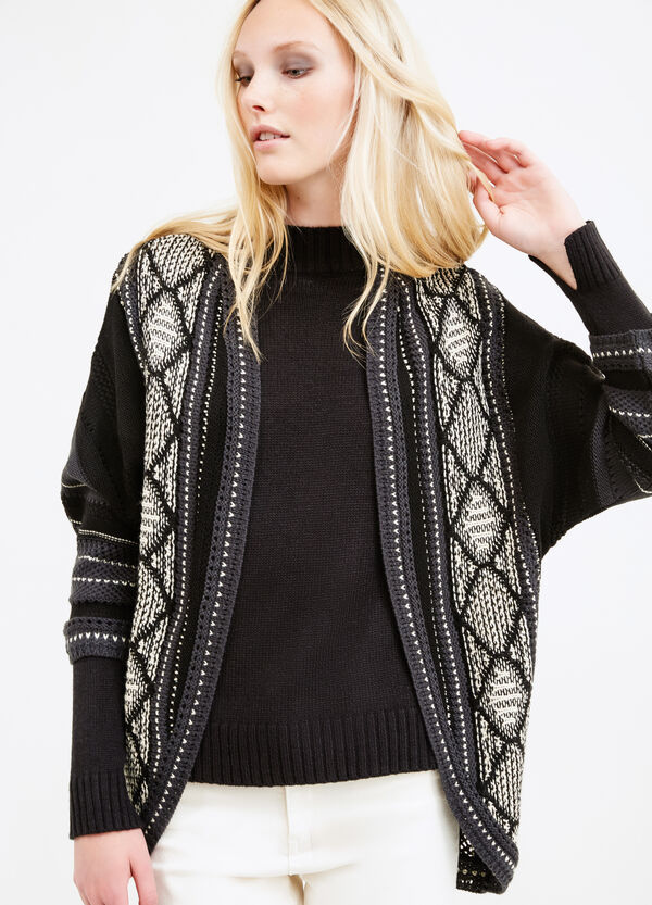 Patterned cardigan with three-quarter sleeves | OVS