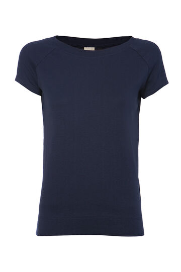 Smart Basic T-shirt with lace back, Blue, hi-res