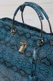 Leather look printed handbag, Soft Blue, hi-res