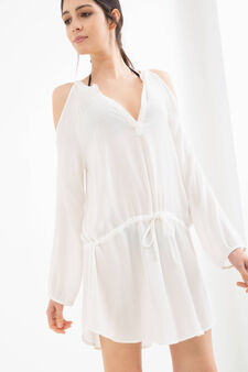 Long-sleeved viscose beach cover-up, White, hi-res