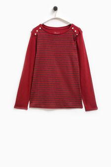Smart Basic striped cotton T-shirt, Grey/Red, hi-res