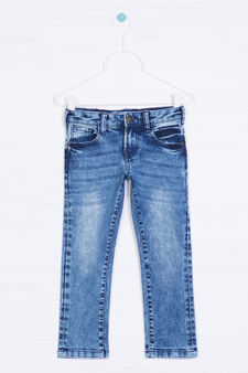 Worn-effect jeans with 5 pockets., Light Wash, hi-res