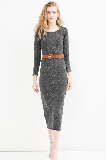 Long dress in stretch cotton, Black, hi-res