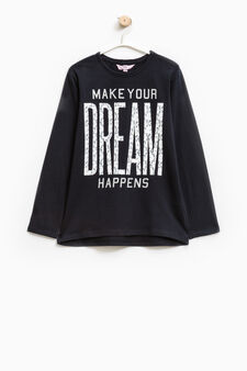 Printed cotton stretch T-shirt, Dark Blue, hi-res