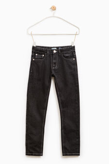 Jeans straight fit tinta unita, Nero, hi-res