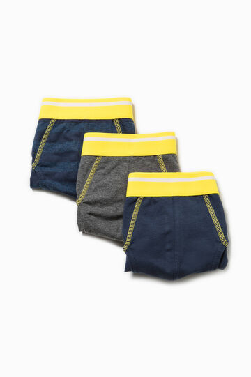 Three-pack cotton solid colour and striped briefs