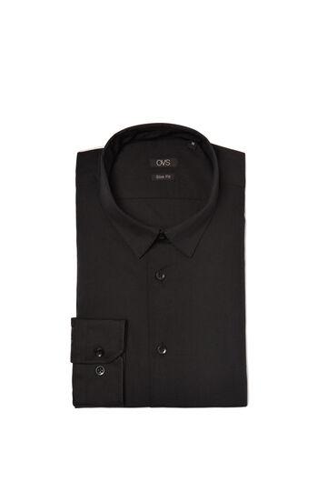 Easy-iron shirt with mandarin collar, Black, hi-res