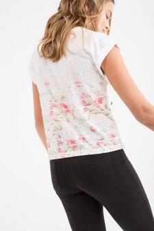 Teen printed cotton T-shirt, White, hi-res