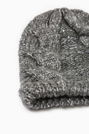 Cappello a cuffia tricot a trecce, Grigio melange, hi-res