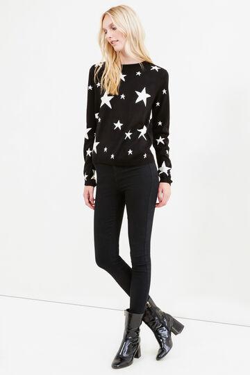 Pullover tricot fantasia stelle, Nero/Bianco, hi-res