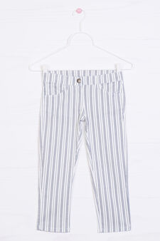 Striped pattern stretch trousers, Multicolour, hi-res