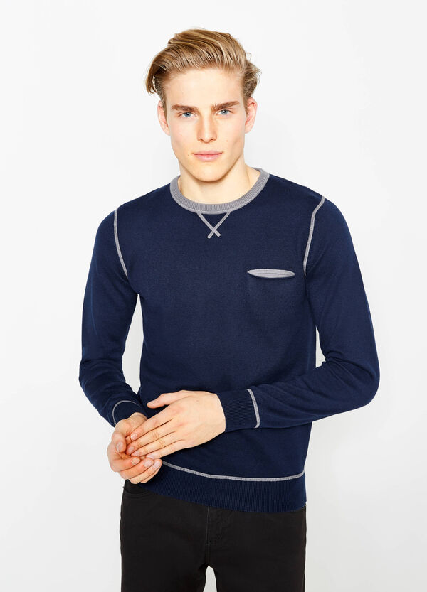 Cotton pullover with contrasting stitching | OVS