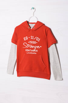 100% cotton T-shirt and sweatshirt outfit., Grey/Red, hi-res