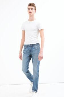 Jeans effetto used straight fit, Lavaggio chiaro, hi-res