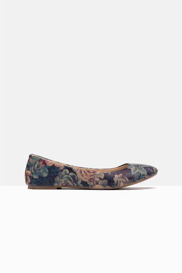 Floral ballerina pumps with round toe, Blue, hi-res