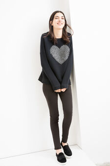 100% cotton sweatshirt with studs, Black, hi-res