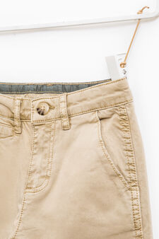 Stretch cotton twill trousers, Sand, hi-res
