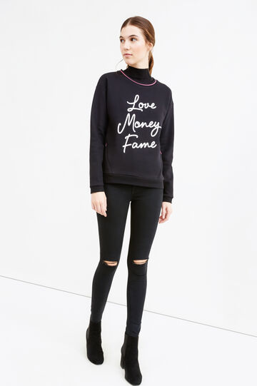 Cotton blend sweatshirt with printed lettering, Black, hi-res
