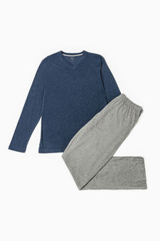 Solid colour cotton and viscose pyjamas, Blue Marl, hi-res