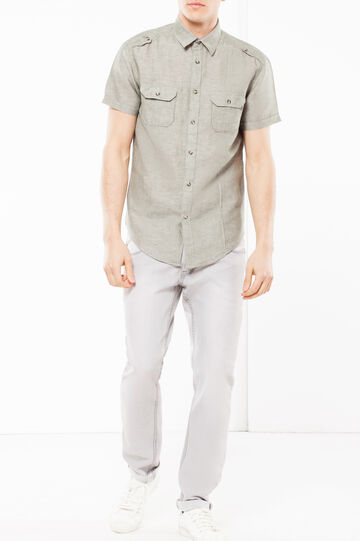 Camicia lino e cotone lavato, Verde, hi-res