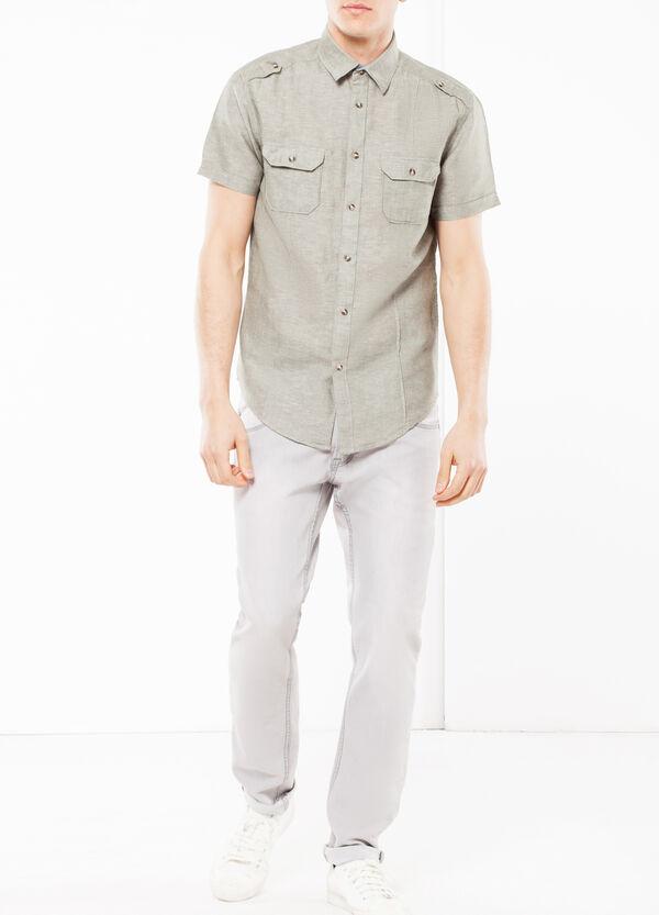 Camicia lino e cotone lavato   OVS
