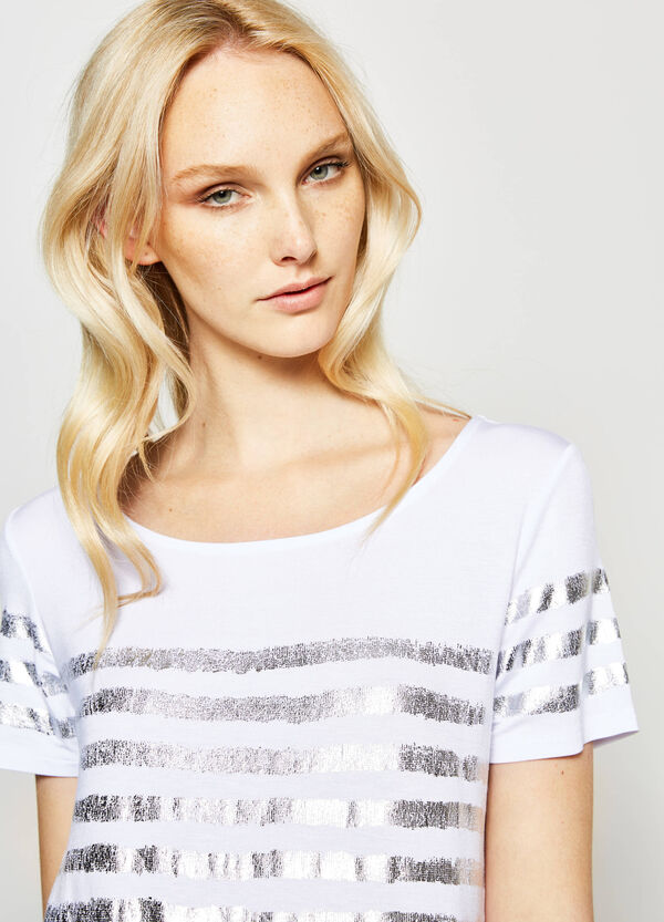 T-shirt con stampa a righe lucide | OVS