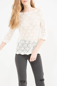 Solid colour 100% cotton pullover, White, hi-res