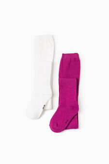 Two-pack solid colour tights, White/Purple, hi-res