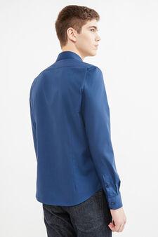 Camicia casual cotone tinta unita, Blu scuro, hi-res