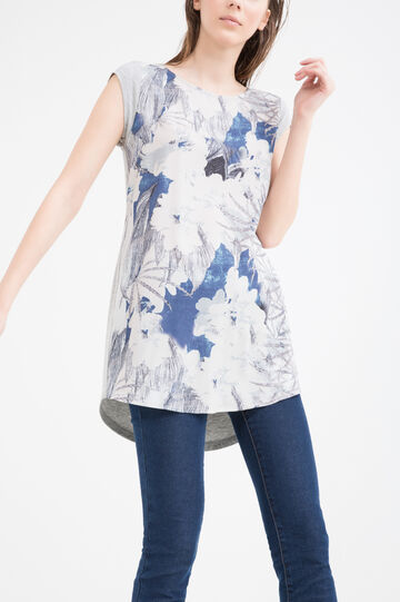 Long T-shirt in stretch viscose, Grey, hi-res