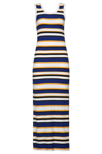 Smart Basic stretch striped dress, Blue/Yellow, hi-res