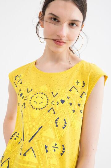 T-shirt smanicata misto cotone, Verde lime, hi-res