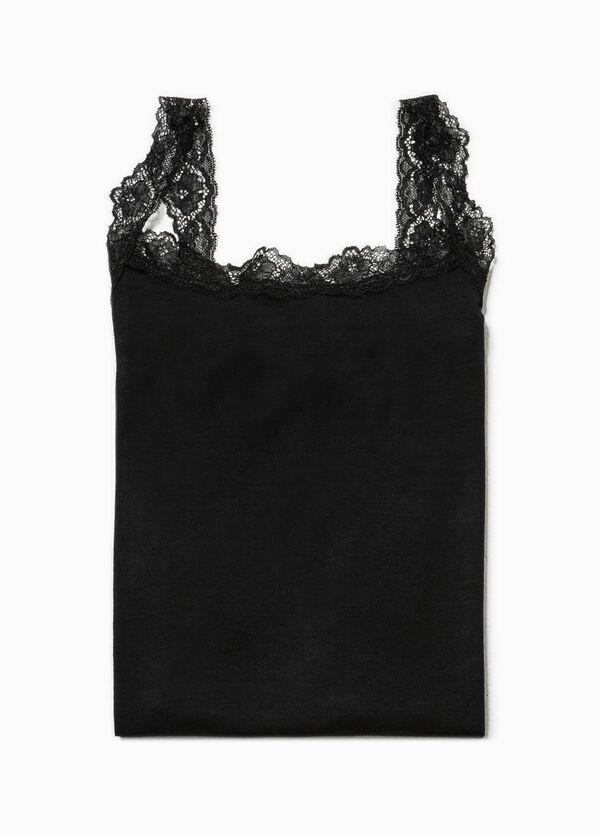 Solid colour vest top with lace | OVS