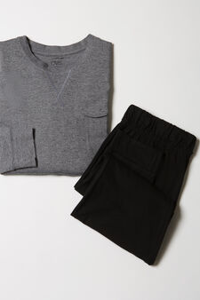 100% cotton pyjamas with round neck, Black/Grey, hi-res