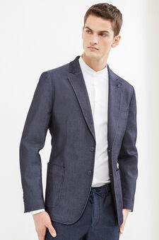 Stretch cotton jacket with two-button fastening, Blue, hi-res