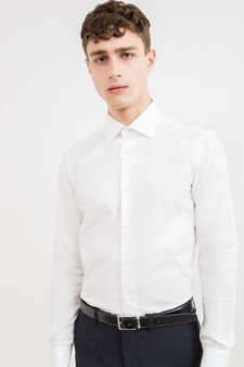 Slim-fit solid colour formal shirt in 100% cotton, White, hi-res