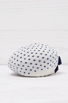 Polka dot beret in cotton, White/Blue, hi-res