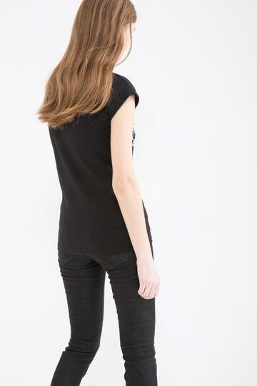 T-shirt cotone stampa teschio, Nero, hi-res