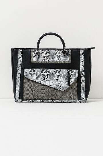 Hand bag with snakeskin look inserts, White/Black, hi-res