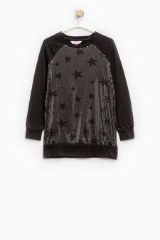 Stretch dress with star print, Black, hi-res