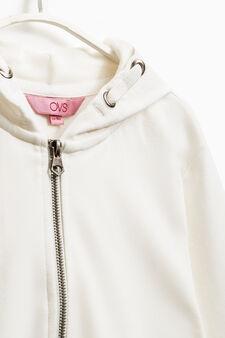 Solid colour 100% cotton sweatshirt, Off-white, hi-res
