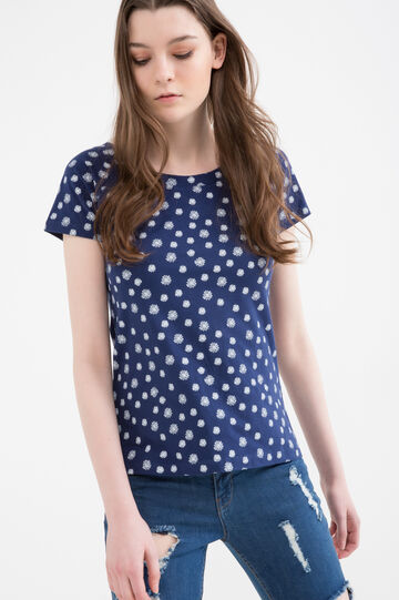 Patterned T-shirt in stretch cotton, White/Blue, hi-res