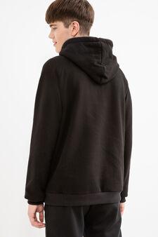 Cotton hoodie with zip, Black, hi-res