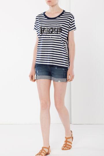 T-shirt con stampa e glitter, Bianco/Nero, hi-res