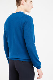 Solid colour cashmere and silk pullover, Deep Blue, hi-res